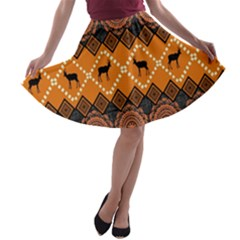Traditiona  Patterns And African Patterns A-line Skater Skirt