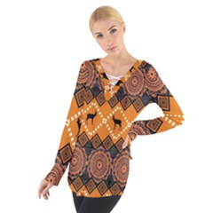 Traditiona  Patterns And African Patterns Women s Tie Up Tee