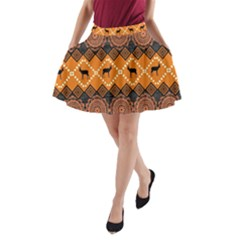 Traditiona  Patterns And African Patterns A-Line Pocket Skirt