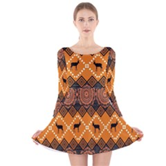 Traditiona  Patterns And African Patterns Long Sleeve Velvet Skater Dress