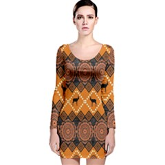 Traditiona  Patterns And African Patterns Long Sleeve Velvet Bodycon Dress