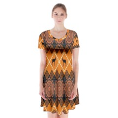 Traditiona  Patterns And African Patterns Short Sleeve V-neck Flare Dress