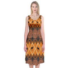 Traditiona  Patterns And African Patterns Midi Sleeveless Dress