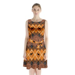 Traditiona  Patterns And African Patterns Sleeveless Chiffon Waist Tie Dress