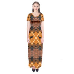 Traditiona  Patterns And African Patterns Short Sleeve Maxi Dress