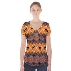Traditiona  Patterns And African Patterns Short Sleeve Front Detail Top