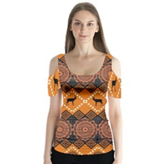 Traditiona  Patterns And African Patterns Butterfly Sleeve Cutout Tee