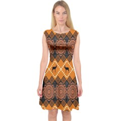 Traditiona  Patterns And African Patterns Capsleeve Midi Dress