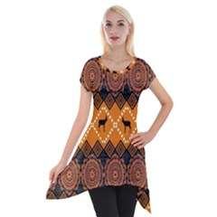 Traditiona  Patterns And African Patterns Short Sleeve Side Drop Tunic