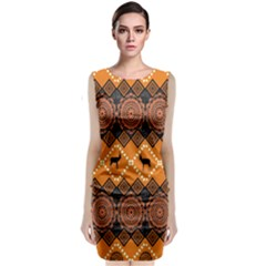 Traditiona  Patterns And African Patterns Sleeveless Velvet Midi Dress