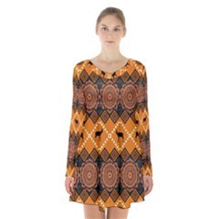 Traditiona  Patterns And African Patterns Long Sleeve Velvet V-neck Dress