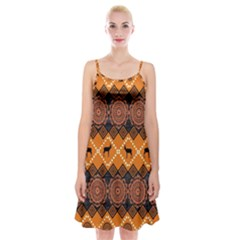 Traditiona  Patterns And African Patterns Spaghetti Strap Velvet Dress