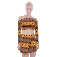 Traditiona  Patterns And African Patterns Off Shoulder Top with Skirt Set