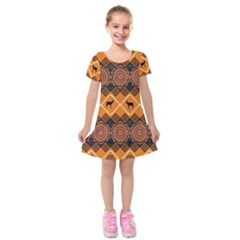 Traditiona  Patterns And African Patterns Kids  Short Sleeve Velvet Dress