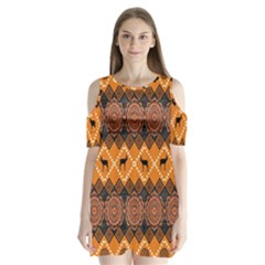 Traditiona  Patterns And African Patterns Shoulder Cutout Velvet  One Piece
