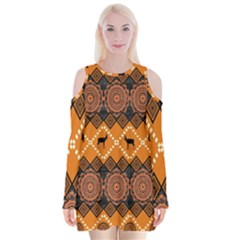 Traditiona  Patterns And African Patterns Velvet Long Sleeve Shoulder Cutout Dress