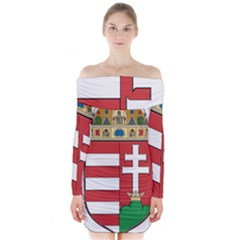 Medieval Coat of Arms of Hungary  Long Sleeve Off Shoulder Dress