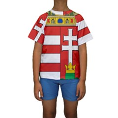 Medieval Coat of Arms of Hungary  Kids  Short Sleeve Swimwear