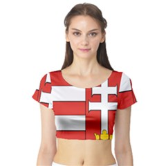 Medieval Coat of Arms of Hungary  Short Sleeve Crop Top (Tight Fit)