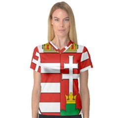 Medieval Coat of Arms of Hungary  Women s V-Neck Sport Mesh Tee