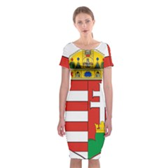 Medieval Coat of Arms of Hungary  Classic Short Sleeve Midi Dress