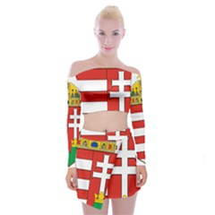 Medieval Coat of Arms of Hungary  Off Shoulder Top with Skirt Set