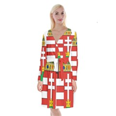 Medieval Coat of Arms of Hungary  Long Sleeve Velvet Front Wrap Dress