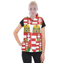 Medieval Coat of Arms of Hungary  Women s Button Up Puffer Vest