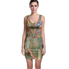 Traditional Korean Painted Paterns Sleeveless Bodycon Dress