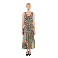 Traditional Korean Painted Paterns Sleeveless Maxi Dress