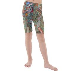 Traditional Korean Painted Paterns Kids  Mid Length Swim Shorts