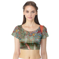 Traditional Korean Painted Paterns Short Sleeve Crop Top (tight Fit)