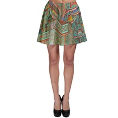 Traditional Korean Painted Paterns Skater Skirt