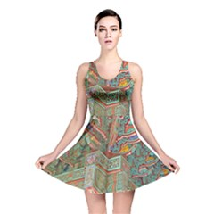 Traditional Korean Painted Paterns Reversible Skater Dress