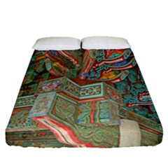 Traditional Korean Painted Paterns Fitted Sheet (Queen Size)