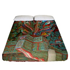 Traditional Korean Painted Paterns Fitted Sheet (California King Size)