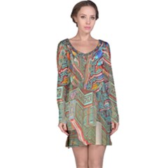 Traditional Korean Painted Paterns Long Sleeve Nightdress