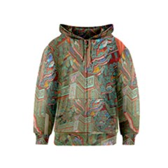 Traditional Korean Painted Paterns Kids  Zipper Hoodie
