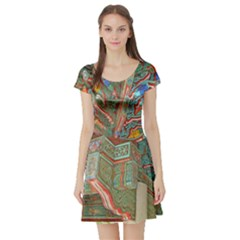 Traditional Korean Painted Paterns Short Sleeve Skater Dress