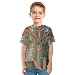 Traditional Korean Painted Paterns Kids  Sport Mesh Tee