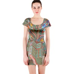 Traditional Korean Painted Paterns Short Sleeve Bodycon Dress