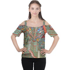 Traditional Korean Painted Paterns Women s Cutout Shoulder Tee