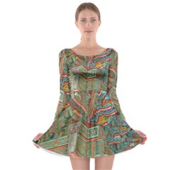 Traditional Korean Painted Paterns Long Sleeve Skater Dress