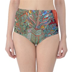 Traditional Korean Painted Paterns High-Waist Bikini Bottoms