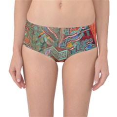 Traditional Korean Painted Paterns Mid-Waist Bikini Bottoms