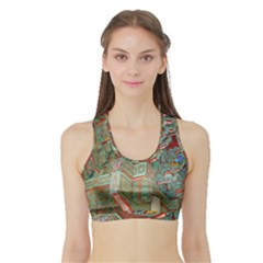 Traditional Korean Painted Paterns Sports Bra with Border