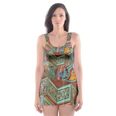 Traditional Korean Painted Paterns Skater Dress Swimsuit