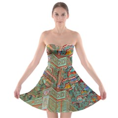 Traditional Korean Painted Paterns Strapless Bra Top Dress