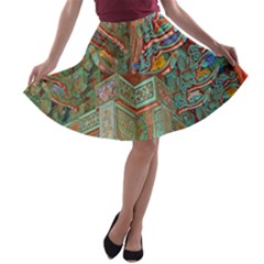 Traditional Korean Painted Paterns A-line Skater Skirt