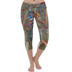Traditional Korean Painted Paterns Capri Yoga Leggings